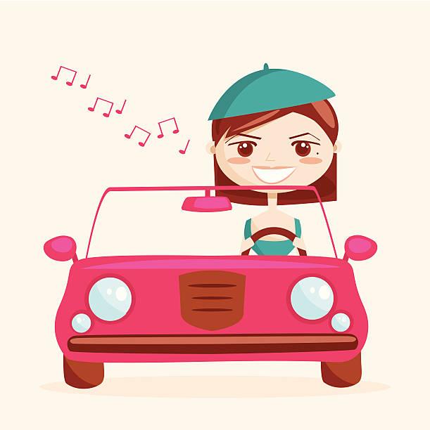 """Retro girl driving, vector illustration"""